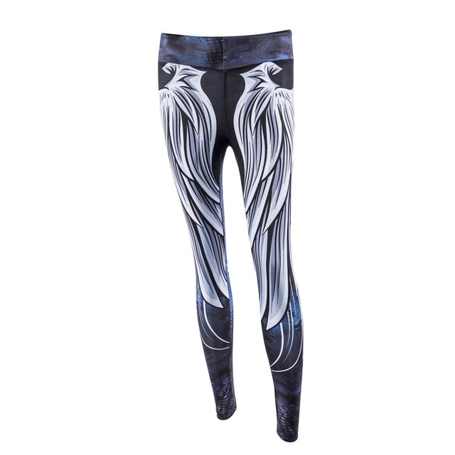 3de71aef2c Yoga pants fitness leggings angel wings print bodybuilding sportswear women