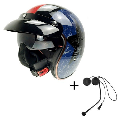 Vintage bluetooth motorcycle helmet smart harley headset phone taking GPRS
