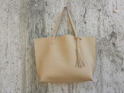 Women's Tassel Leather Tote Bag - ericallen