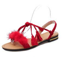 Women's Tassel Lace-Up Flat Sandals - ericallen