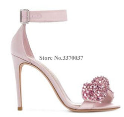 Leather Rhinestone Thin Heel Sandals - ericallen