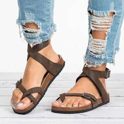 Women's Strappy Flat Leather Sandals - ericallen