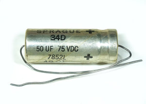 Sprague 50uF 75VDC Electrolytic Capacitor Axial Lead