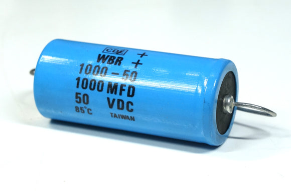 Cornell Dubilier WBR-1000-50 1000uF 50VDC Electrolytic Capacitor