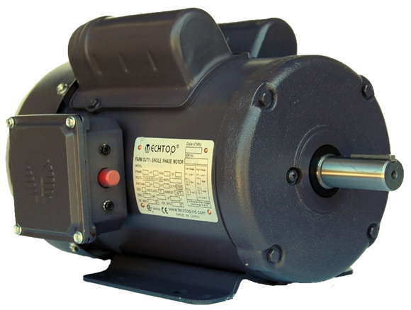 Techtop RD1-RS-TF-145T-4-B-C-2 2 HP 1800 RPM 145T TEFC Single-Phase Farm Duty Motor