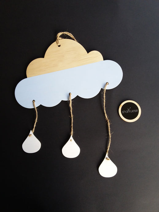 Wooden Decor - Blue/Natural 3 Drop Raincloud - SHARTRUESE