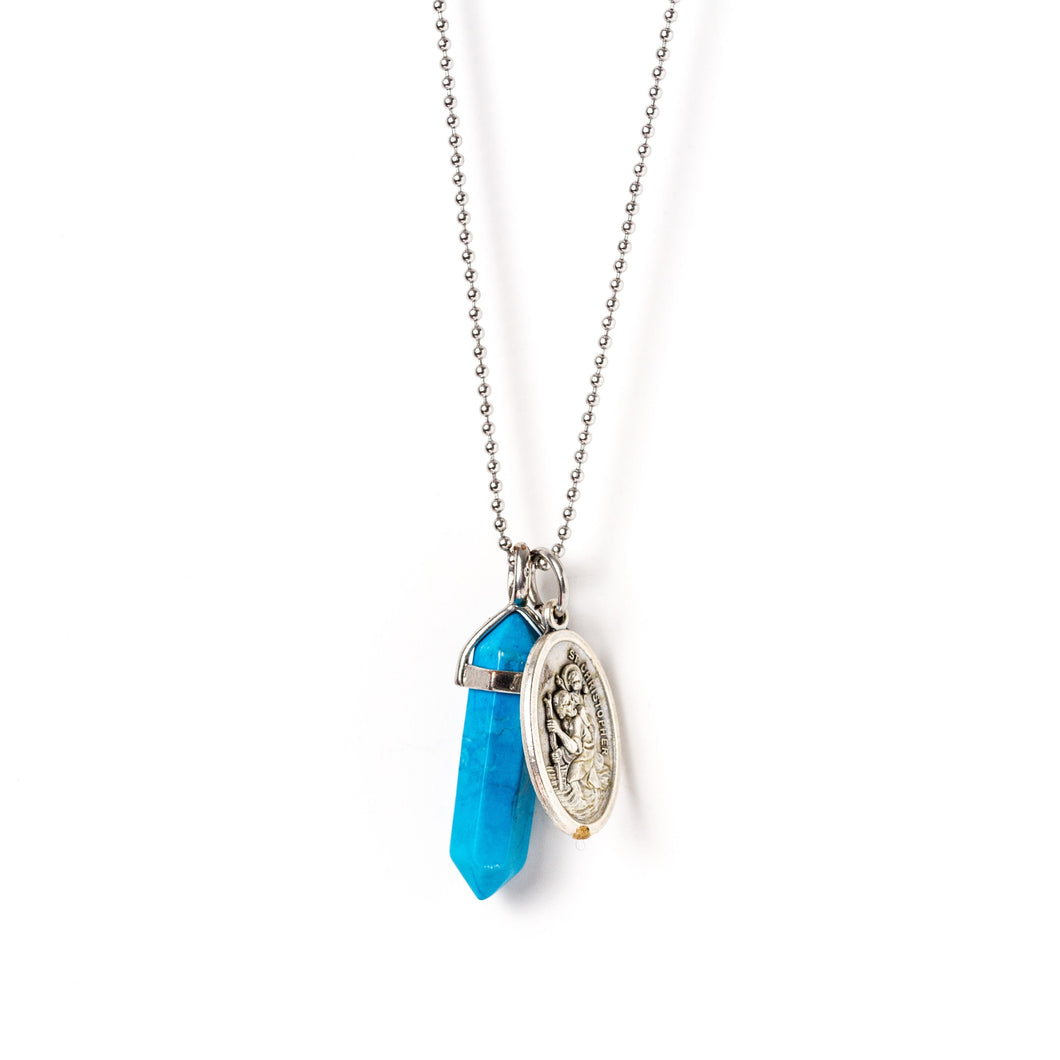 Pendant Necklace Silver | Blue Howlite | LACED WITH KINDNESS