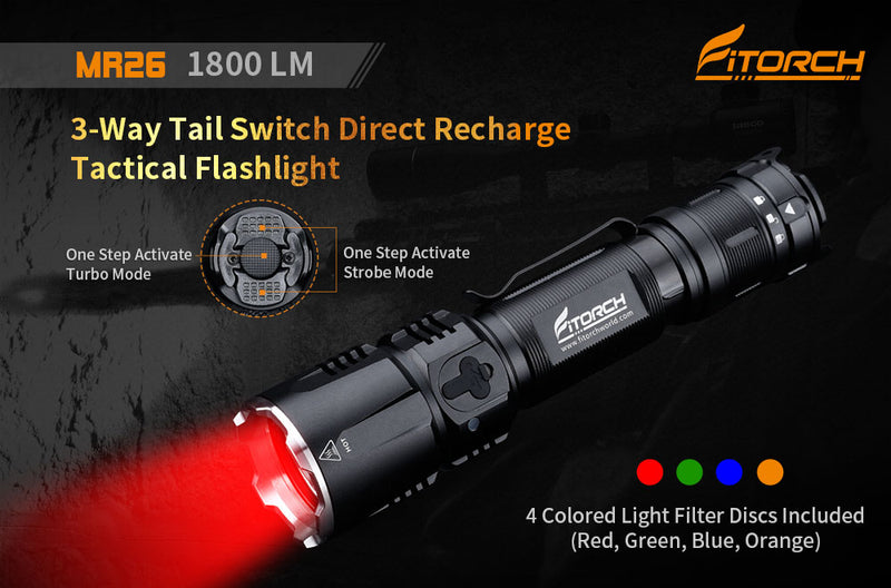 MR26 | 3-Way Tail Switch Direct Recharge Tactical Flashlight