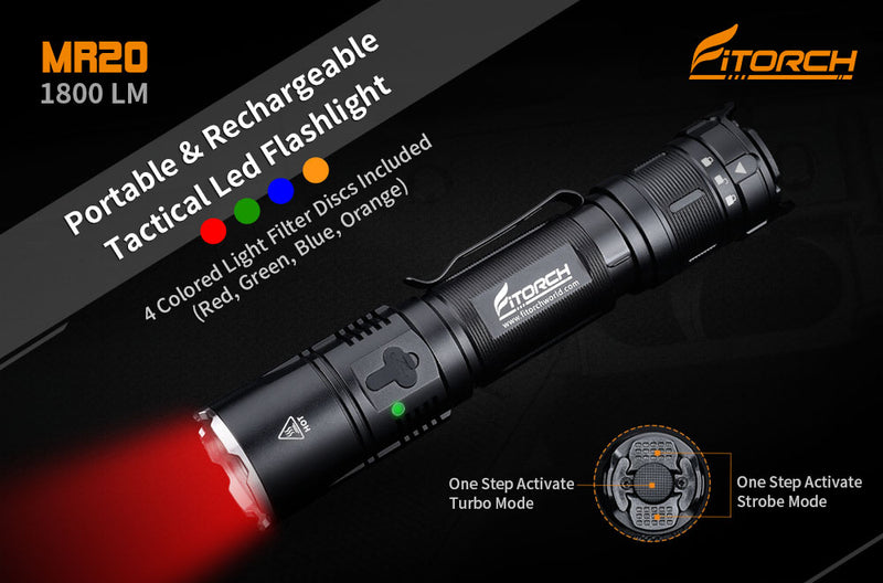 MR20 | Portable & Rechargeable Tactical LED Flashlight