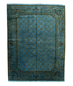 9x12 Overdyed Lattice Floral Light Blue Handknotted Area Rug Silk Wool 1135 - west of hudson