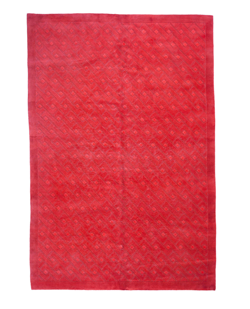 6x9 Overdyed Carved Modern Watermelon Red Rug 1137 - west of hudson