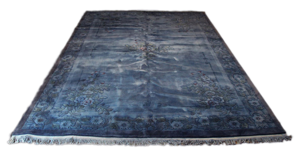 10x14 Overdyed Floral Chinese Art Deco Blue Rug 1199 - west of hudson