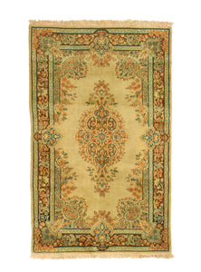 3x5 Overdyed Oriental Nain Floral Faded Olive Green Rug 1302 - west of hudson