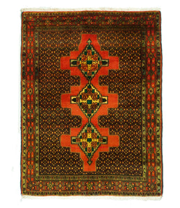 4x5 Overdyed Oriental Brick Red Vintage Rug 1315 - west of hudson