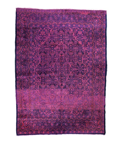 7x11 Overdyed Vintage Oriental Area Rug Hot Pink Purple Blue Rug 1365 - west of hudson