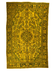6x10 Overdyed Vintage Oriental Floral Gold Rug 1368 - west of hudson