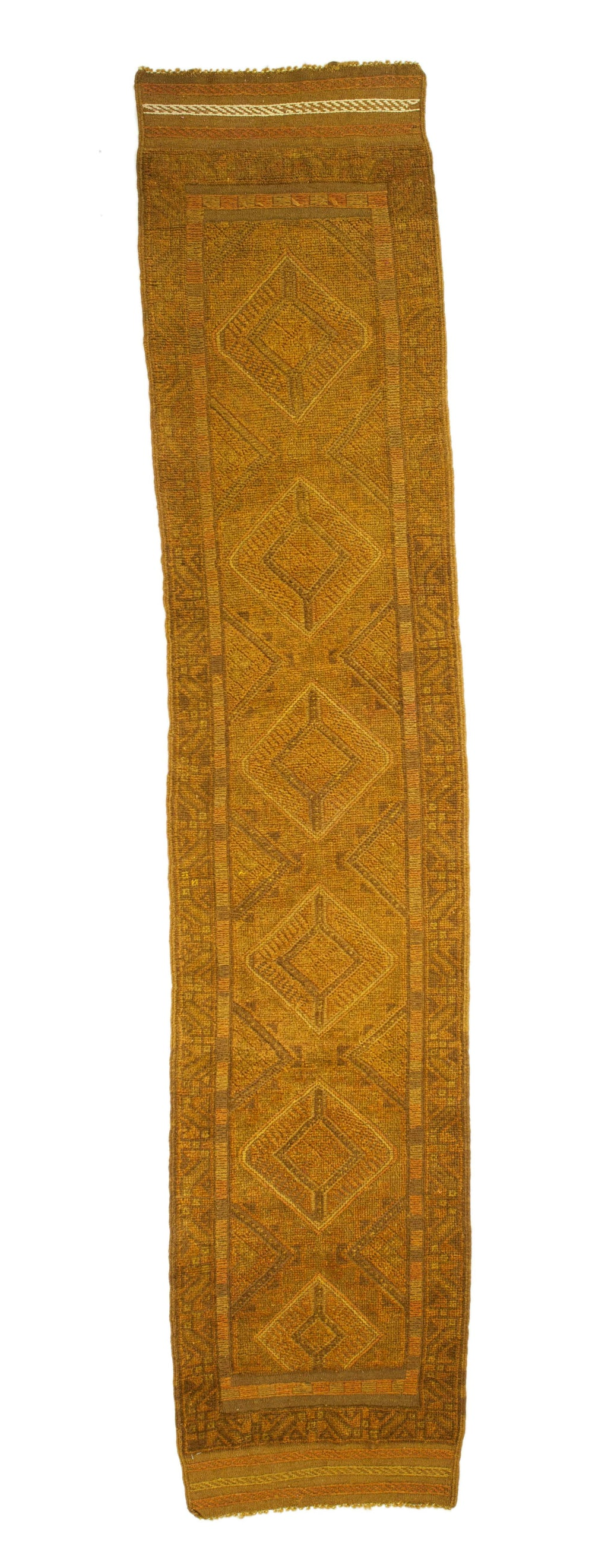 2x9 Overdyed Vintage Tribal Gold Runner 2507 - west of hudson
