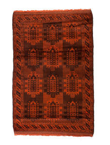 4x6 Overdyed Vintage Tribal Burnt Orange Rug 2513 - west of hudson
