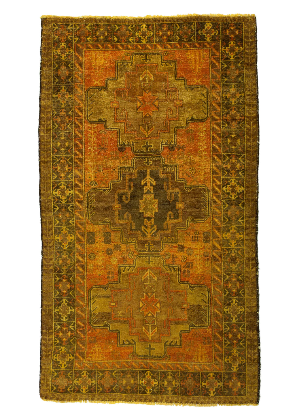 4x6 Overdyed Vintage Tribal Gold Rug 2515 - west of hudson