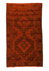 3x6 4x6 Overdyed Vintage Tribal Burnt Orange Rug 2518 - west of hudson