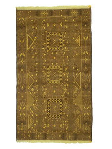 4x6 Overdyed Vintage Tribal Gold Rug 2521 - west of hudson