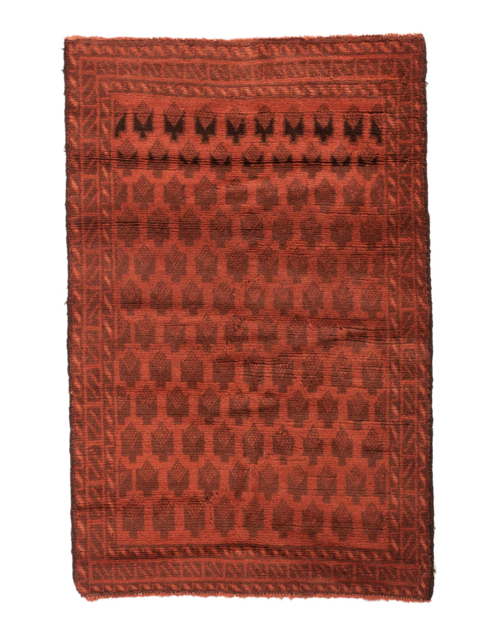 3x4 Overdyed Vintage Tribal Burnt Orange Rug 2522 - west of hudson