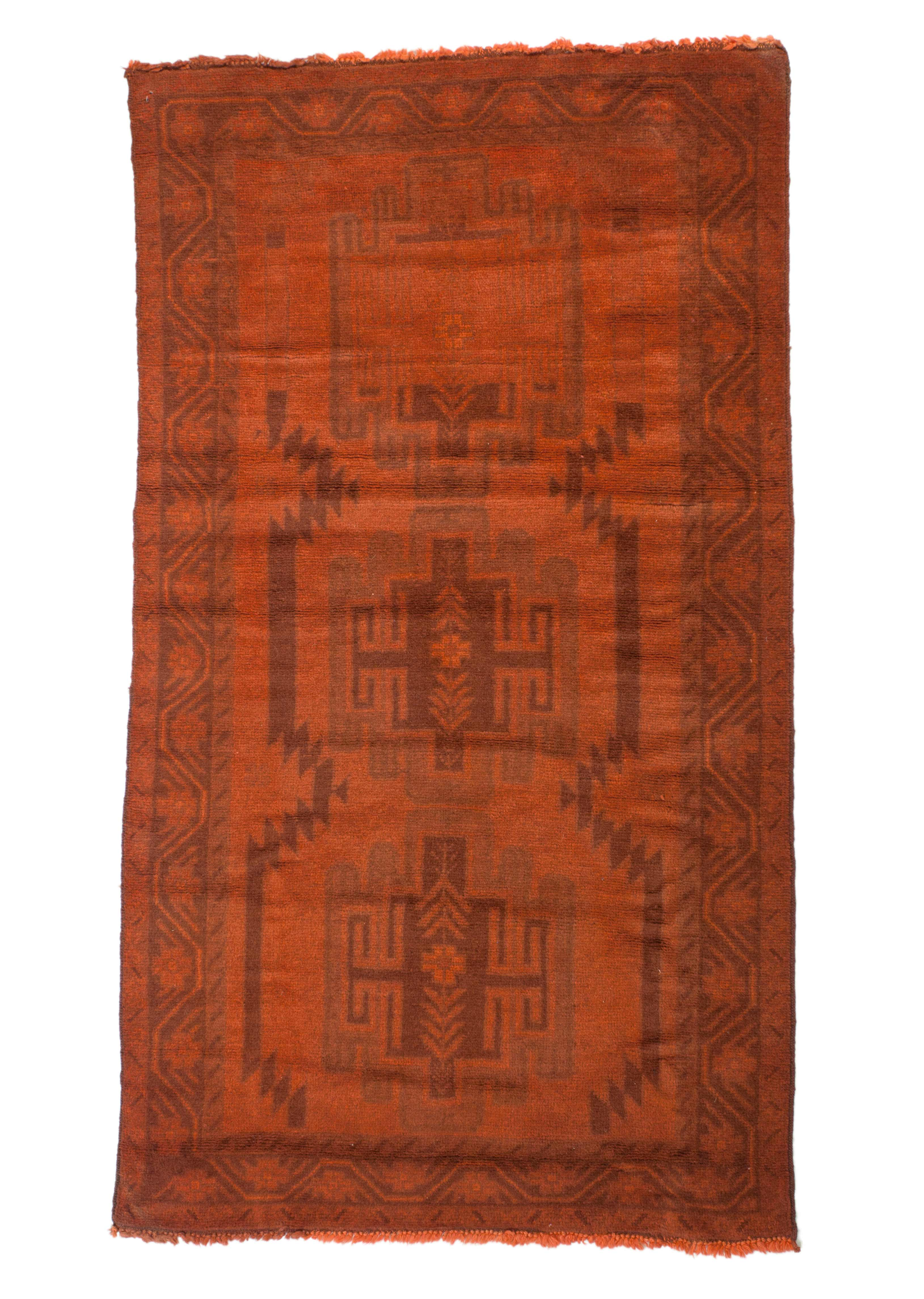 3x6 Overdyed Vintage Tribal Burnt Orange Rug 2527 - west of hudson