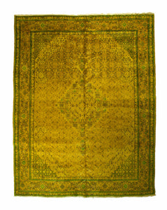 10x13 Overdyed Oriental Area Rug Gold Green Rug 2534 - west of hudson
