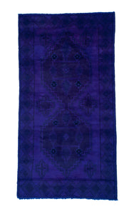 3x6 Overdyed Vintage Tribal Purple Rug 2547 - west of hudson