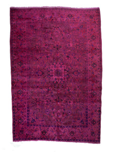 7x10 Overdyed Vintage Oriental Hot Pink Fuchsia Rug woh-2558 - west of hudson