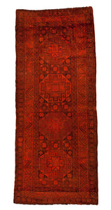5x11 Overdyed Vintage Burnt Orange Rug 2620 - west of hudson