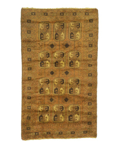 3x5 Overdyed Vintage Tribal Gold Rug woh-2622 - west of hudson