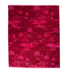 Over-Dyed Hot Pink & Lavender Floral Design Rug