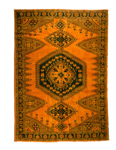 Over-Dyed Burnt Orange Persian Vintage Rug