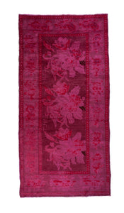 Vintage hot pink overdyed rug