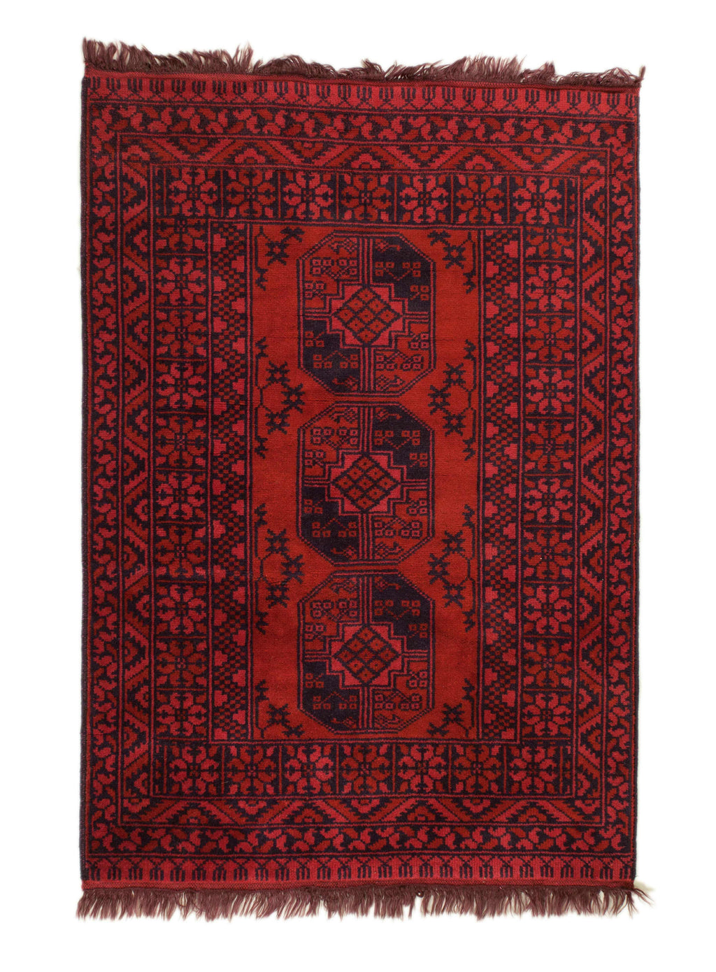 3x5 Overdyed Vintage Tribal Rug Red 2673 - west of hudson