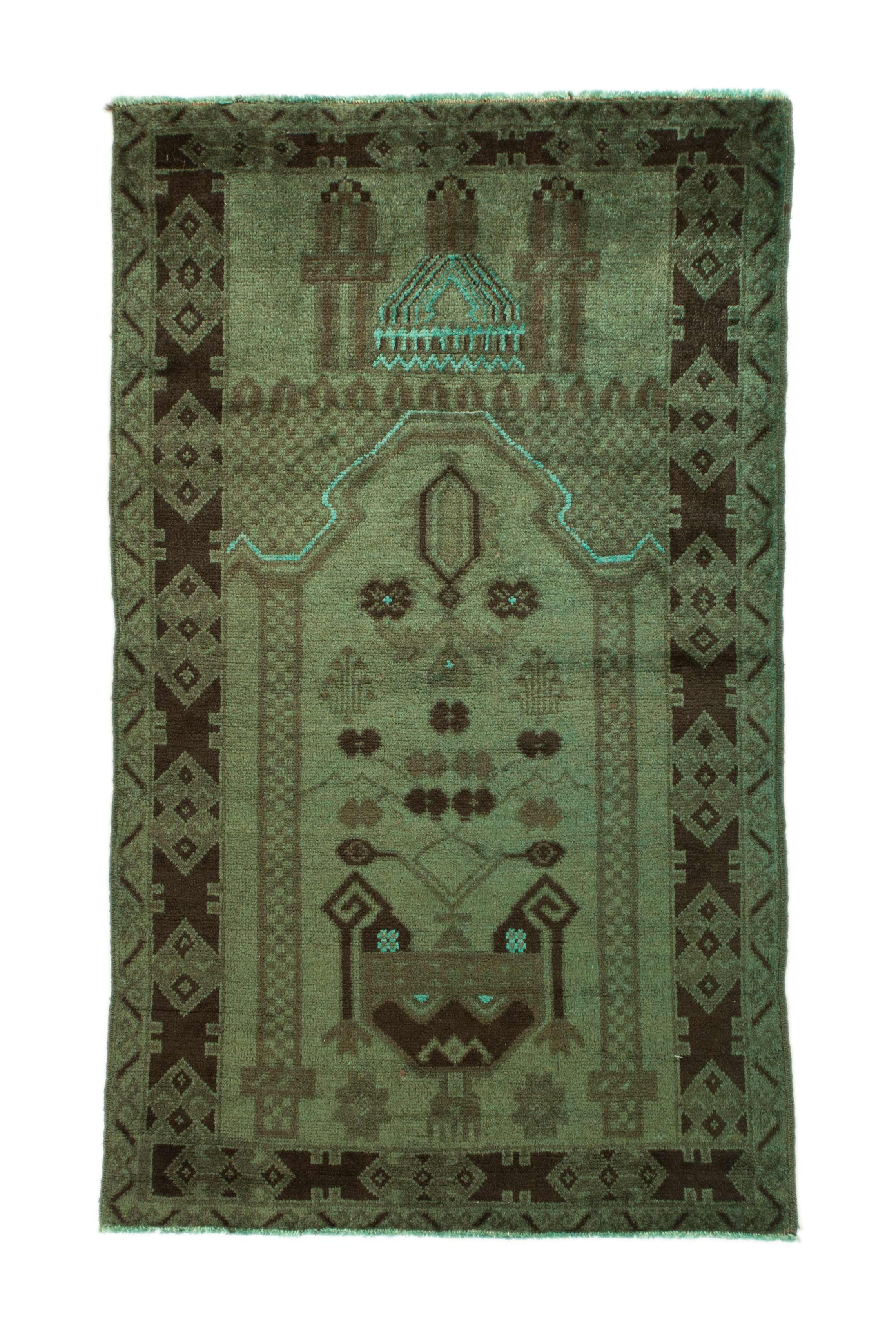 3x4 Overdyed Tribal Rug Vintage 2684 - west of hudson