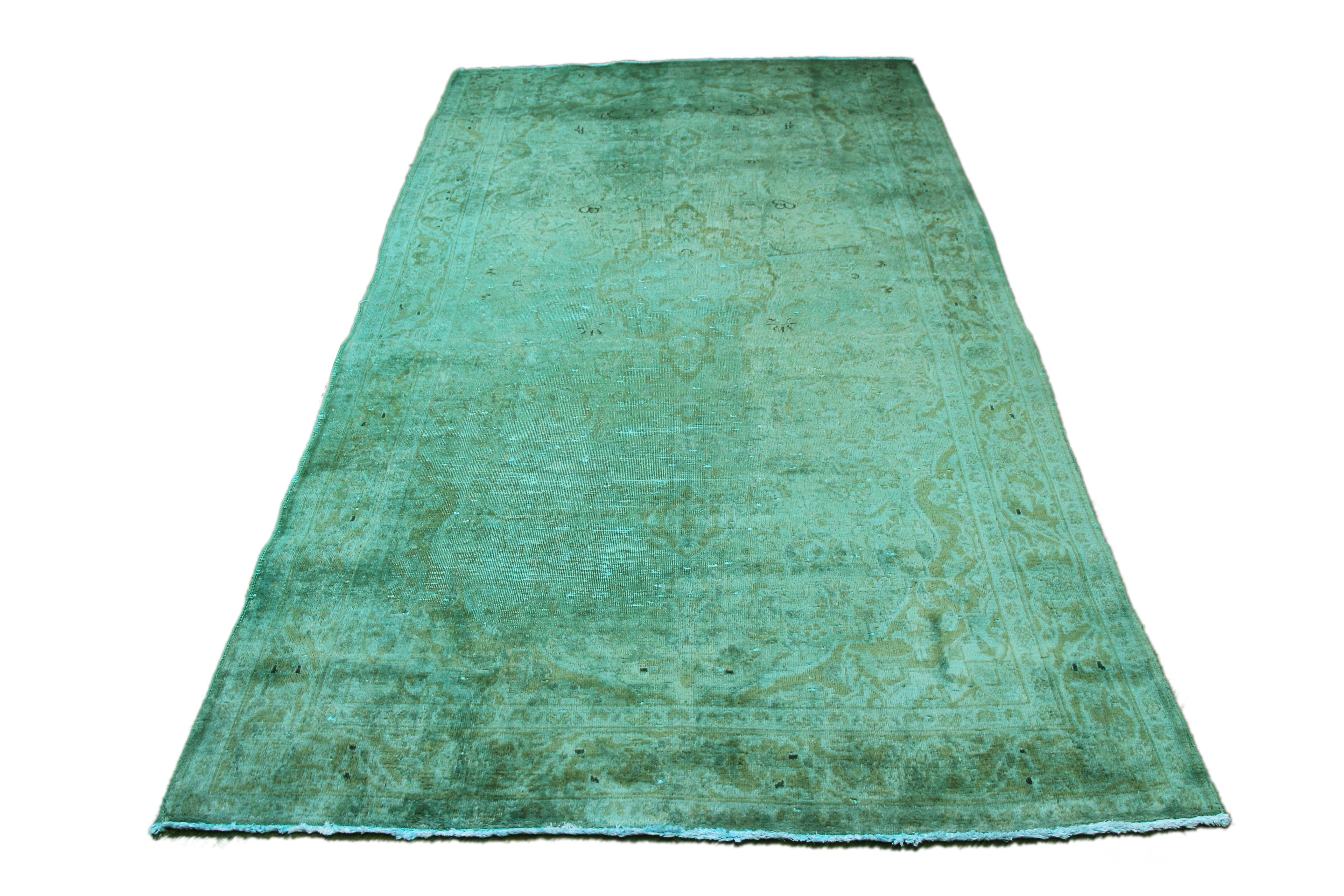 5x9 Overdyed Rug Sapphire Green Distressed Vintage Oriental Kashan 2699 - west of hudson