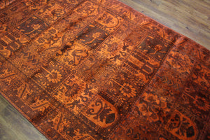 6x10 Overdyed Orange Vintage Oriental Rug 2729 - west of hudson