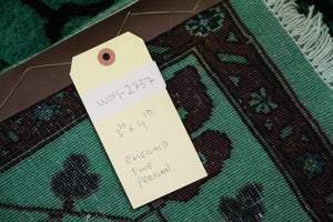 4x5 Fine Oriental Emerald Green Rug 100% Wool 2737 - west of hudson