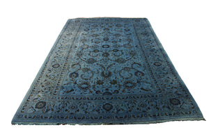 7x10 Vintage Teal Rug Overdyed Oriental Blue 2827 - west of hudson