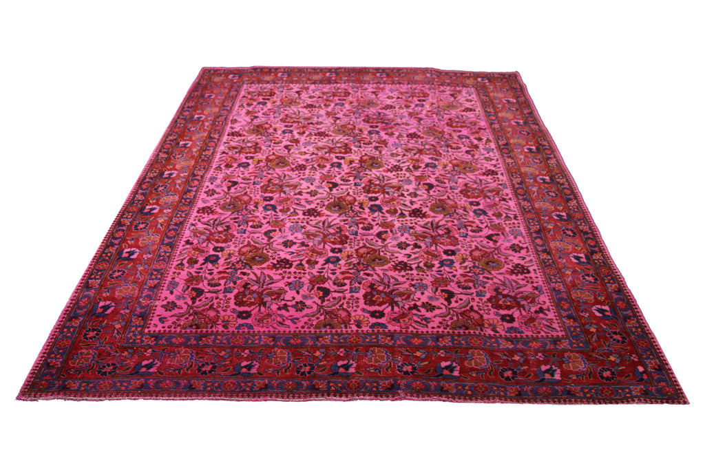 6x9 Overdyed Hot Pink Rug Distressed Vintage Oriental 2828 - west of hudson