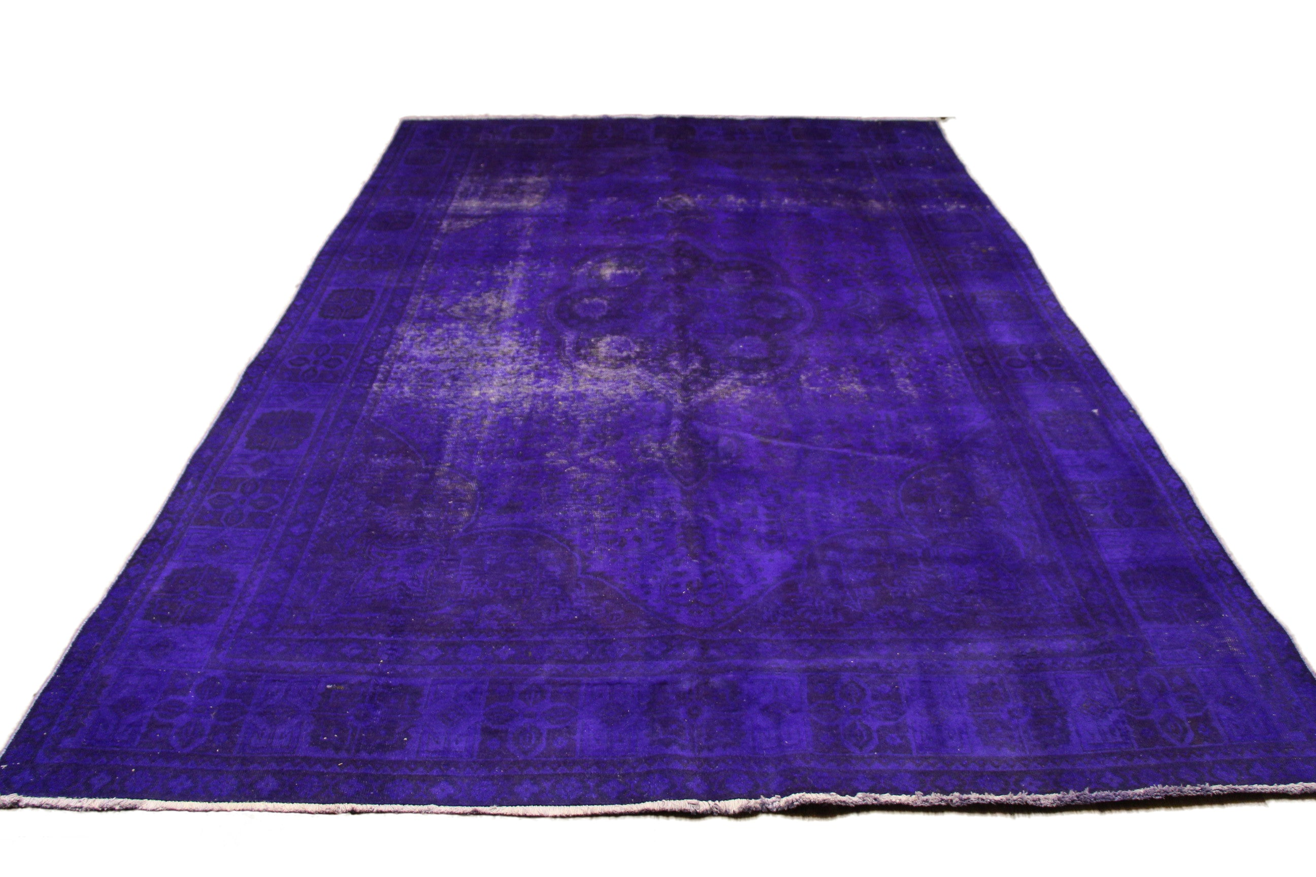 7'10 x 11'6 Purple Vintage Oriental Rug Distressed Rug 8x11 2834 - west of hudson