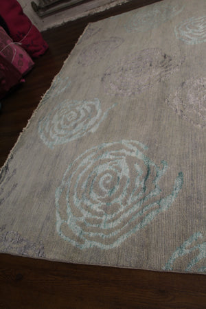 8x10 Modern Wool Silk One Of a Kind Handmade Rug 2838 - west of hudson
