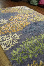 5x8 Modern Wool Silk One Of a Kind Handmade Rug 2839 - west of hudson
