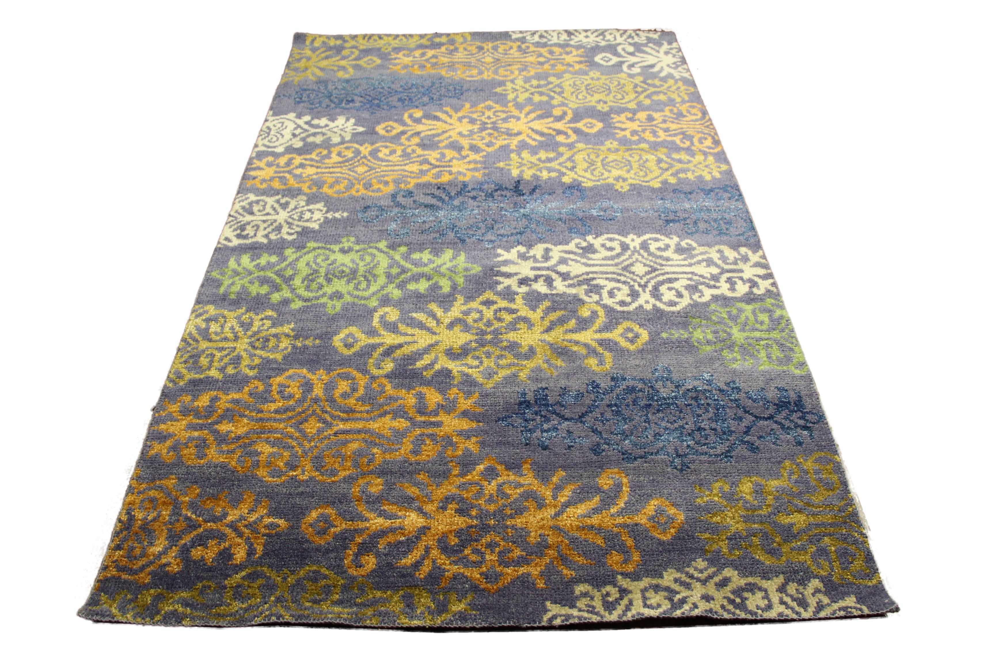 5x8 wool and silk pile rug