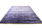 9x12 Deep Purple Rug Overdyed Chinese Art Deco 2844 - west of hudson
