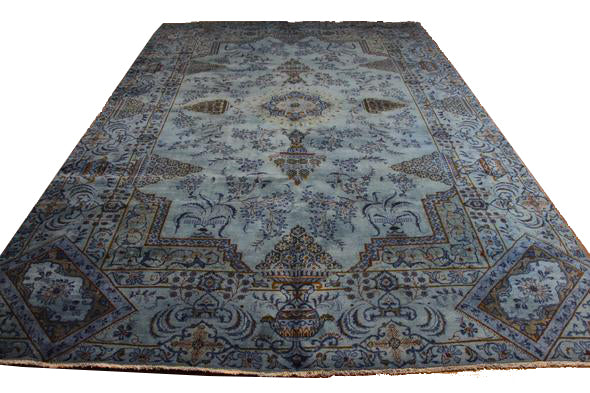 8x12 Vintage Oriental Kashan Light Blue Rug Overdyed 2845 - west of hudson