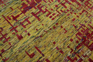 Yellow & Red Indian Sari Art Silk 6x8 One Of a Kind Rug 2860 - west of hudson