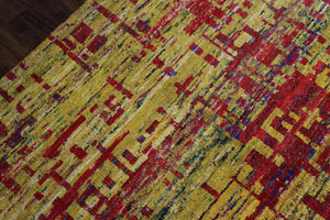 Yellow & Red Indian Sari Art Silk 6x8 One Of a Kind Rug 2860 - westofhudson